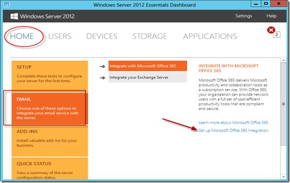 Integrando windows server 2012 essentials com office 365 - Office 365 server settings for outlook 2013 ...
