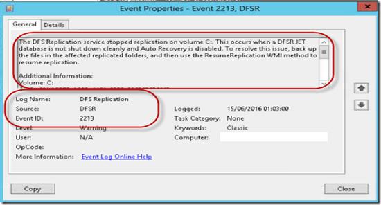 corrigindo o erro  u201cthe dfs replication service stopped